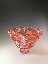 Apricot Scallop Bowl by Jacob Pfeifer (Art Glass Bowl)