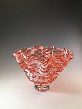 Apricot Scallop Bowl by Jacob Pfeifer (Art Glass Bowl)