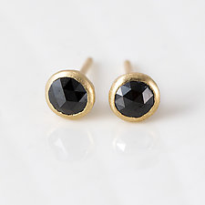 4mm Rose Cut Black Diamond Stud Earrings in 14k Yellow Gold by Melanie Casey (Gold & Stone Earrings)
