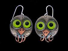 Owlet Earrings by Lisa and Scott  Cylinder (Metal Earrings)