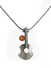 Guitar with Orange Necklace by Lisa and Scott  Cylinder (Metal Necklace)