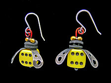Boxcar Bee Earrings by Lisa and Scott  Cylinder (Metal Earrings)