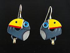 Toucan Earrings by Lisa and Scott  Cylinder (Metal Earrings)