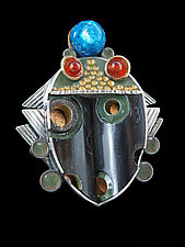 Teardrop Scarab Clarinet Brooch by Lisa and Scott  Cylinder (Silver & Resin Brooch)