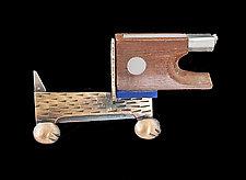 Weiner Dog Brooch by Lisa and Scott  Cylinder (Silver & Resin Brooch)