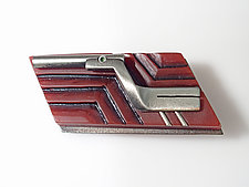 KeyWee Deluxe Brooch #14 by Lisa and Scott  Cylinder (Silver & Resin Brooch)