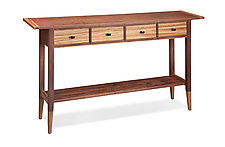 Solid Walnut Table with Zebrawood Accents by Tom Dumke (Wood Console Table)