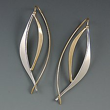 Forged Leaf Earrings by Susan Panciera (Gold & Silver Earrings)