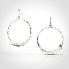 Forged Zen Circle Earrings by Susan Panciera (Silver Earrings)