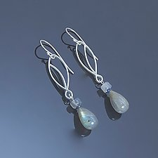 Cicada in Laboradorite and Sapphire by Susan Panciera (Silver & Stone Earrings)