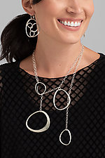 Four Stones Adjustable Lariat by Susan Panciera (Silver Necklace)