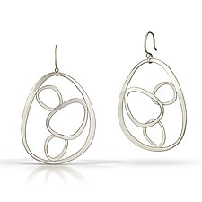 4 Nesting Stones Earrings by Susan Panciera (Silver Earrings)