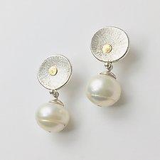Sun Earrings with Pearl Drops by Susan Panciera (Silver & Pearl Earrings)