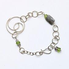 Swirl Link Bracelet in Green by Susan Panciera (Silver & Stone Earrings)