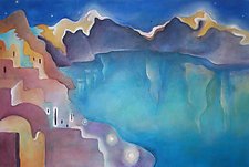 Reflections, Oia Night by Linda Jacobson (Acrylic Painting)