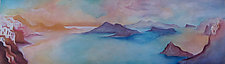 Santorini Panorama Blue/Rose by Linda Jacobson (Acrylic Painting)