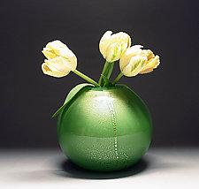 Gold Vase in Green by Scott Summerfield (Art Glass Vase)
