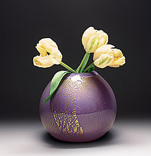 Gold Vase in Purple by Scott Summerfield (Art Glass Vase)