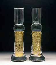 Gold Candlesticks by Scott Summerfield (Art Glass Candleholders)