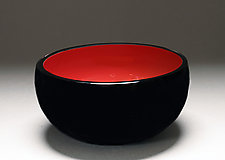 Overlay Bowl in Red and Black by Scott Summerfield (Art Glass Bowl)