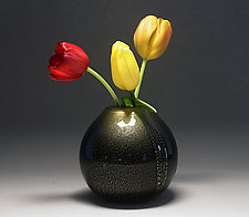 Gold Vase in Black by Scott Summerfield (Art Glass Vase)