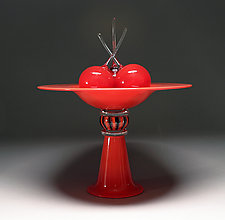 Red Pedestal Bowl with Cherries by Scott Summerfield (Art Glass Sculpture)