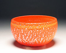 Orange Silver Foil Bowl by Scott Summerfield (Art Glass Bowl)