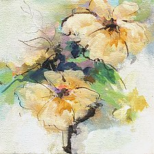 Yellow Flowers II by Karen  Hale (Acrylic Painting)