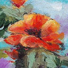 Bloomin' Red by Karen  Hale (Acrylic Painting)