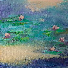Pink Water Lilies by Karen  Hale (Acrylic Painting)