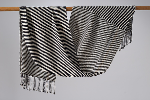 Stripes 1 Shawl in Black and White
