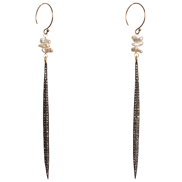 Natasha Diamond Dagger & Japanese Keshi Pearl Earrings