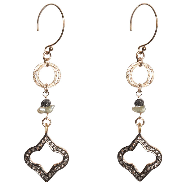 Natasha Black Diamond Quatrefoil & Japanese Keshi Pearl Earrings