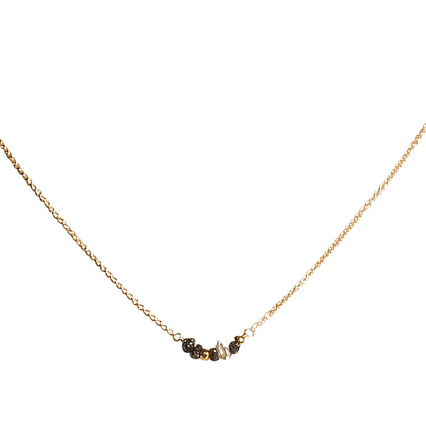 Natasha Black Diamond & Pearl Tiny Necklace