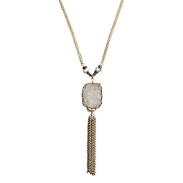 Natasha Moonstone Slice and Black Diamond Tassel Necklace