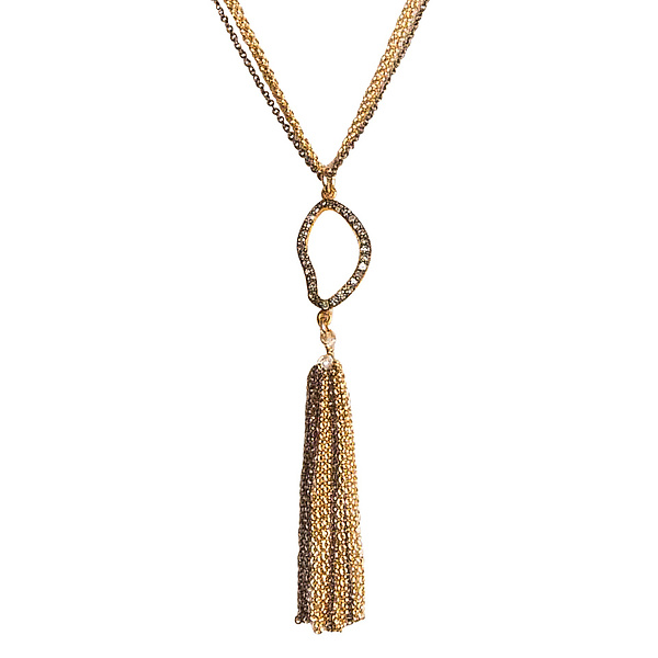 Natasha Black Diamond Tassel Necklace
