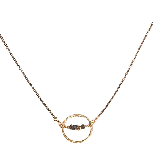 Natasha Gold Circle & Black Diamond Necklace
