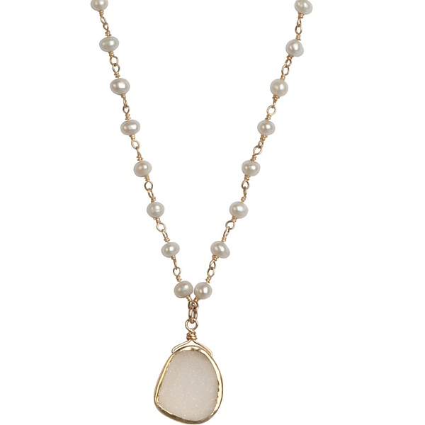 Madison Pearl & White Druzy Necklace