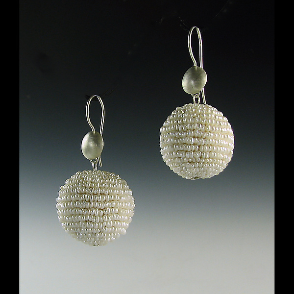 Pearl Bauble Seed Pearl and Silver Earrings