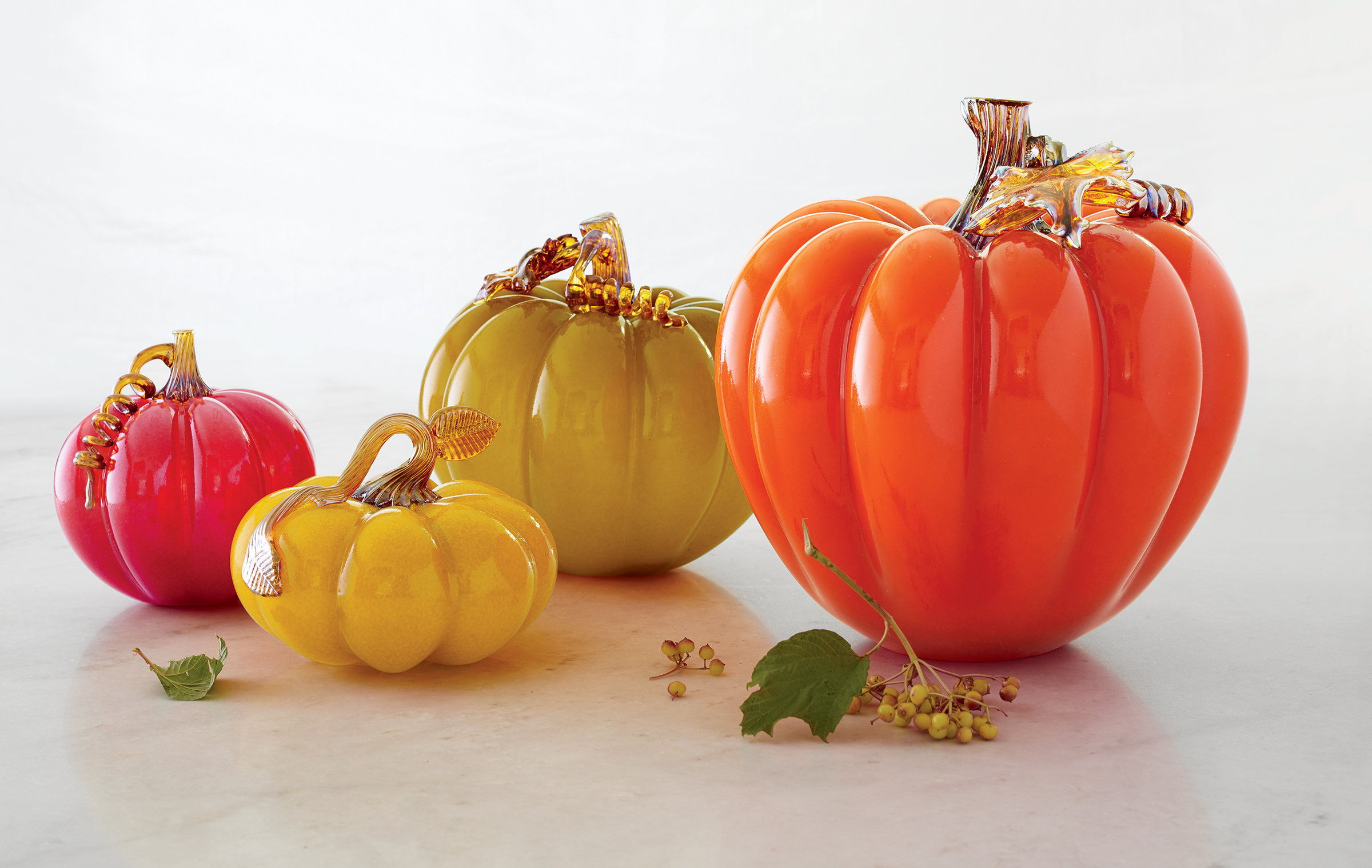 Fall pumpkins by treg silkwood art glass sculpture Silkwood glass