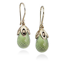 Prehnite Drop Earrings by Rona Fisher (Gold & Stone Earrings)