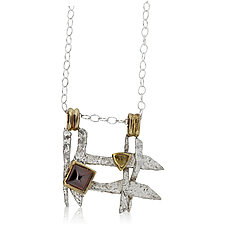 Woven Textured Silver and Gold Necklace by Rona Fisher (Gold, Silver & Stone Necklace)