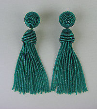 Emerald-Green Beaded Tassel Earrings by Julie Long Gallegos (Beaded Earrings)