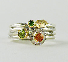 Four-Ring Stack with Sapphire, Garnet & Sphene by Julie Long Gallegos (Gold, Silver & Stone Ring)