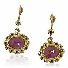 Oval Ruby Checkerboard Cut Dangle Earrings with black diamonds by Rona Fisher (Gold & Stone Earrings)