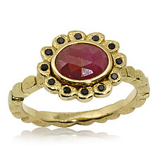 Opaque Ruby and Black Diamonds Ring by Rona Fisher (Gold & Stone Ring)