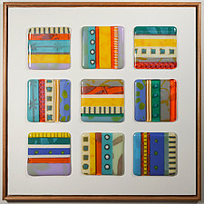 Southwest Stripes: Tic-Tac-Toe by Mary Johannessen (Art Glass Wall Sculpture)