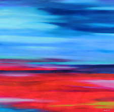 Blue and Red by Mary Johnston (Oil Painting)
