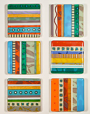 Southwest Stripes - Six Square by Mary Johannessen (Art Glass Sculpture)