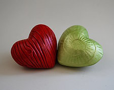 Heart in Hand Rattles VI by Valerie Seaberg (Ceramic Sculpture)